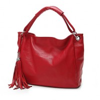 Women PU Shopper Tote- Blue/Red/Black/Khaki