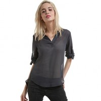 Women & #039;S Solid Red/Gray Blouse,V Neck Long Sleeve