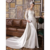 Lanting Trumpet/Mermaid Wedding Dress-Ivory Court Train Jewel Lace/Satin