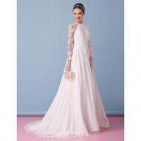 Lanting A-Line Wedding Dress- Ivory Sweep/Brush Train Jewel Chiffon/Lace