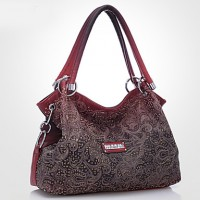 Women PU Barrel Shoulder Bag/Tote- Pink/Blue/Red/Gray/Khaki