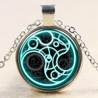 SteamPUnk Uk Drama Doctor Who Blue Line Time Lord Necklace 1 Piece/Lot Bronze/Silver
