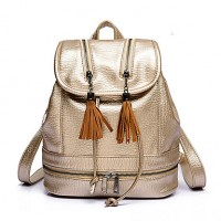 Veneta Women PU Bucket Backpack/Sports & Leisure Bag/School Bag/Travel Bag- Gold/Brown/Silver/Black