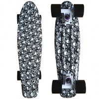 Skull Graphic Printed Plastic Skateboard (22 Inch) Cruiser Board With Abec-9 Bearing