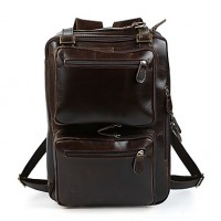Men Cowhide Sports/Casual/Outdoor/Shopping Shoulder Bag/Tote/Backpack/Travel Bag- Brown