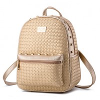 Women & #039;S Fashion Casual PU Leather Knit Backpack