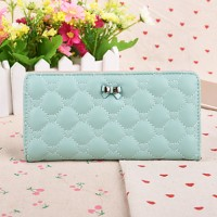 Sweet Style Diamond Lattice Butterfly Knot Candy Colored Long Horizontal Thin Multi-Card Bit Card Package Lady Wallet