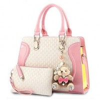 Women PU Doctor Tote- White/Pink/Blue/Black