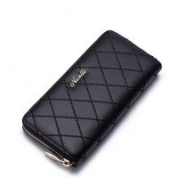 Nucelle Real Genuine Lambskin Leather Purse Wallet Checkbook Clutch Bag Zip Lattice Long Black