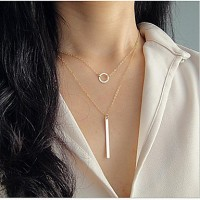 Circle + Narrow Strip Double Layer Tiny Necklace