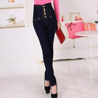 Women & #039;S Solid Blue Black Cotton Pant , Bodycon Casual