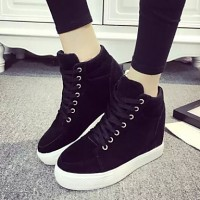 Women & #039;S Shoes Fabric Platform Round Toe High-Top Fashion Sneakers Outdoor/Casual Black/Gray