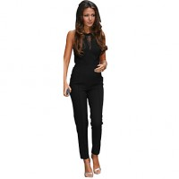 Women & #039;S Patchwork Black Jumpsuits , Sexy Round Neck Sleeveless