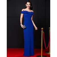 Ts Couture? Formal Evening Dress-Royal Blue Sheath/Column Off-The-Shoulder Floor-Length Chiffon