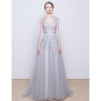 Cocktail Party/Formal Evening Dress- Silver V-Neck Sweep/Brush Train Tulle