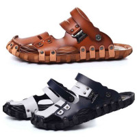 Men's Sandals Breathable Pu Leather Plus Size Beach Slippers
