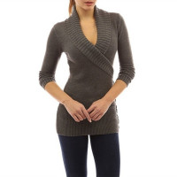 Women's Autumn Winter Casual Long Sleeve Wrap V Neck Loose Knitted Pullover Sweater
