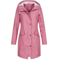 Women's Hooded Trench Coats Outdoor Waterproof Rain Coat Casual Solid Coat
