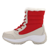 Cold Winter Fleece Lining Ankle Lace up Snow Boots for Women