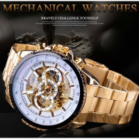 Winner Brand Mens Watches Sport Design Stainless Steel Steampunk Automatic Skeleton Mechanical Watch For Business