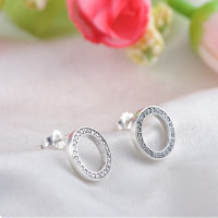 Women's 925 Sterling Silver Stud Earrings Round Diamond Earrings Pendants Necklaces