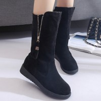 Women's Round Toe Faux Leather Side Zip Boot Stylish Mid-carf Boots