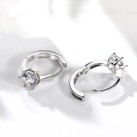 Women's Fashion Exquisite 925 Sterling Silver Earrings Diamond Ring Jewelry