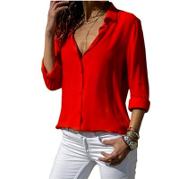 Women's Casual Long Sleeve Shirts Solid Color Sexy Deep V-neck Loose Chiffon Blouse