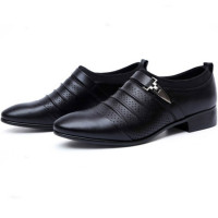 Men's Breathable Leather Pointed Toe Wedding Flats Shoes