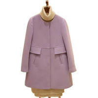 Women's Winter O-neck Medium-long Wool Coat Slim Thickening A-line Trench Coat