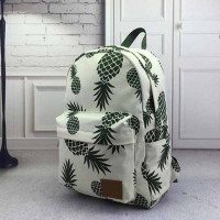 Women's Pineapple Print Canvas Bag Backpack
