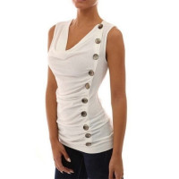 Women's Slim Single-breasted Sleveless T-shirt Solid Color Cotton T-shirt