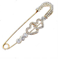 Women's Stylish Vintage Women Double Heart Pins Brooches