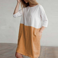 Women's Spring Casual Dress Cotton Linen Two-color Stitching Vintage Short Sleeve Dress