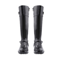 Women's Winter Round Toe Mid Calf Low Heel Leather Boots