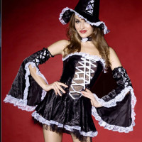 Women's Black Bell Sleeve Halloween Sexy Dress