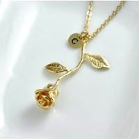 Women's Gold Rose Necklace pendant Necklace Anniversary Gift Initial Necklace