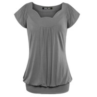 Women's Fashion Summer Solid Color V-neck Short Sleeve Tops Loose T-Shirt