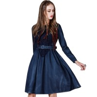 Womens Classic Loose Fit Chambray Jean Denim Shirt Dress with Pocket