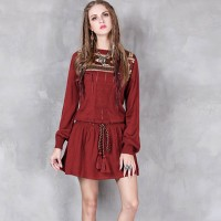 Women Vintage Floral Embroidered Round Neck Long Sleeve Short Dresses