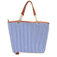 Women's Fashion Fresh Chain Stripe Canvas Tote Bag