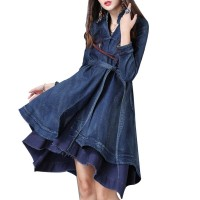 Womens Long Sleeve Plus Size Floral Embroidered Denim Dresses