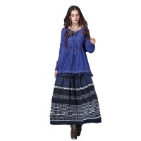 Women's Casual Tops Blue Lace Blouse Ladies Long Sleeve Shirt