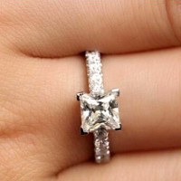 925 Sterling Silver Natural Gemstones White Sapphire Birthstone Bride Wedding Engagement Ring Size 6 7 8 9 10