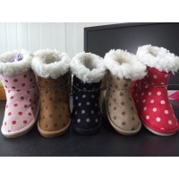 2017 Best Selling Children Polka Dot Snow Boots Waterproof Slip On Cotton Fabric Shoes Sweety Girls Boys Shoes For Winter
