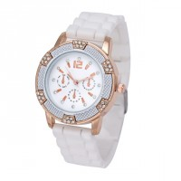 Delicate Women & #39;S White Black Chronograph Silicone With Crystal Rhinestones Sport Watch Norgj