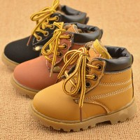 Size 21-25 New Fashion Winter Autumn Warm Ankle Kid Boots Lace-Up Plus Velvet Boys Girls Shoes Children Anti-Slip Snow Boot Shoe
