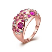 European markets and the US market hot sales jewelry 18K rose gold color crystal jewelry low prices popular high-quality products ring accessories