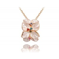 Selling rose gold jewelry luxury diamond pendant necklace member price discount white petals
