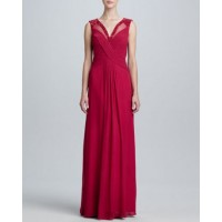 Fashion sexy v-shaped collar long style bride chiffon bridesmaid dress the bride married toast A word style clothing dress sister group